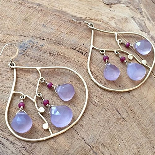 - Lavender Chalcedony Earrings with Genuine Rubies and 24K Gold Vermeil
