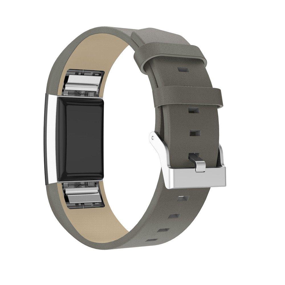 ☀️Modaworld Pulsera de Repuesto Correa de Banda de Repuesto Muñequera Pulsera de Cuero con Conectores de Metal para Fitbit Charge 2 (Gris): Amazon.es: ...