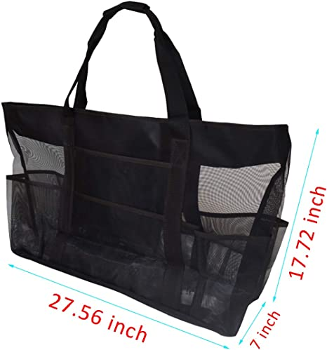 Picnic TECKE Mesh Beach Tote Bag 27.5 Oversized Carry Travel Bags for Swimming Pool Travel Beach