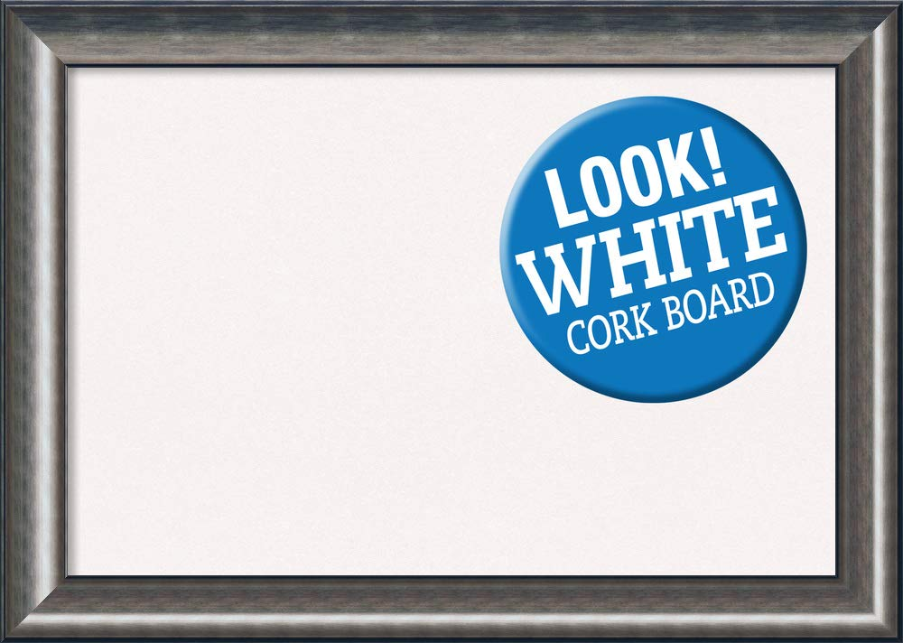 Amanti Art Extra Large, Outer Size 42 x 30 Framed White Cork Board X-Lg, Quicksilver Scoop