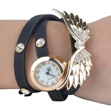 Ocaler®Alas Estilo incrustaciones de diamantes de imitación reloj pulsera  de cuarzo Reloj con pu banda de cuero para la Mujer (Black)  Amazon.es   Juguetes y ... 6dcd3ae307cf