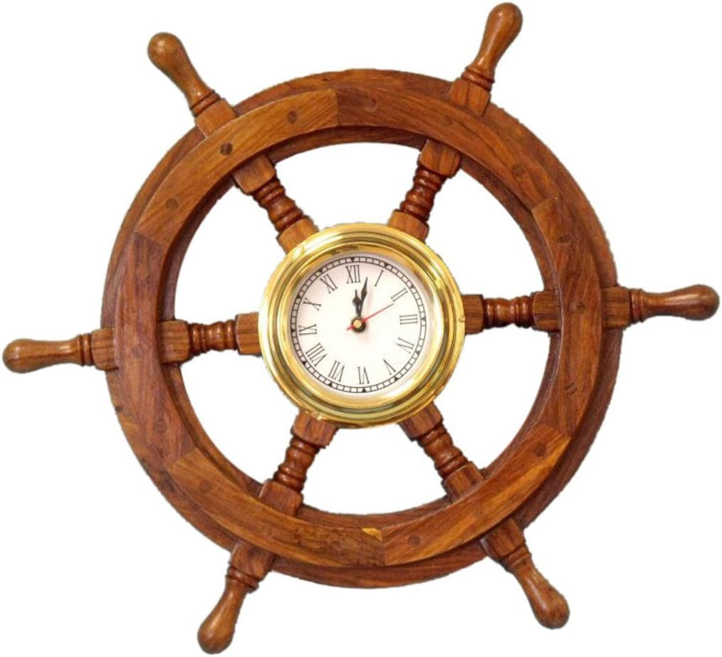 Hampton NauticalDeluxe Class Wood and Brass Ship Wheel Clock 18