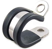 Pack de 5 abrazaderas de tubo de acero inoxidable para mangueras con forro de goma