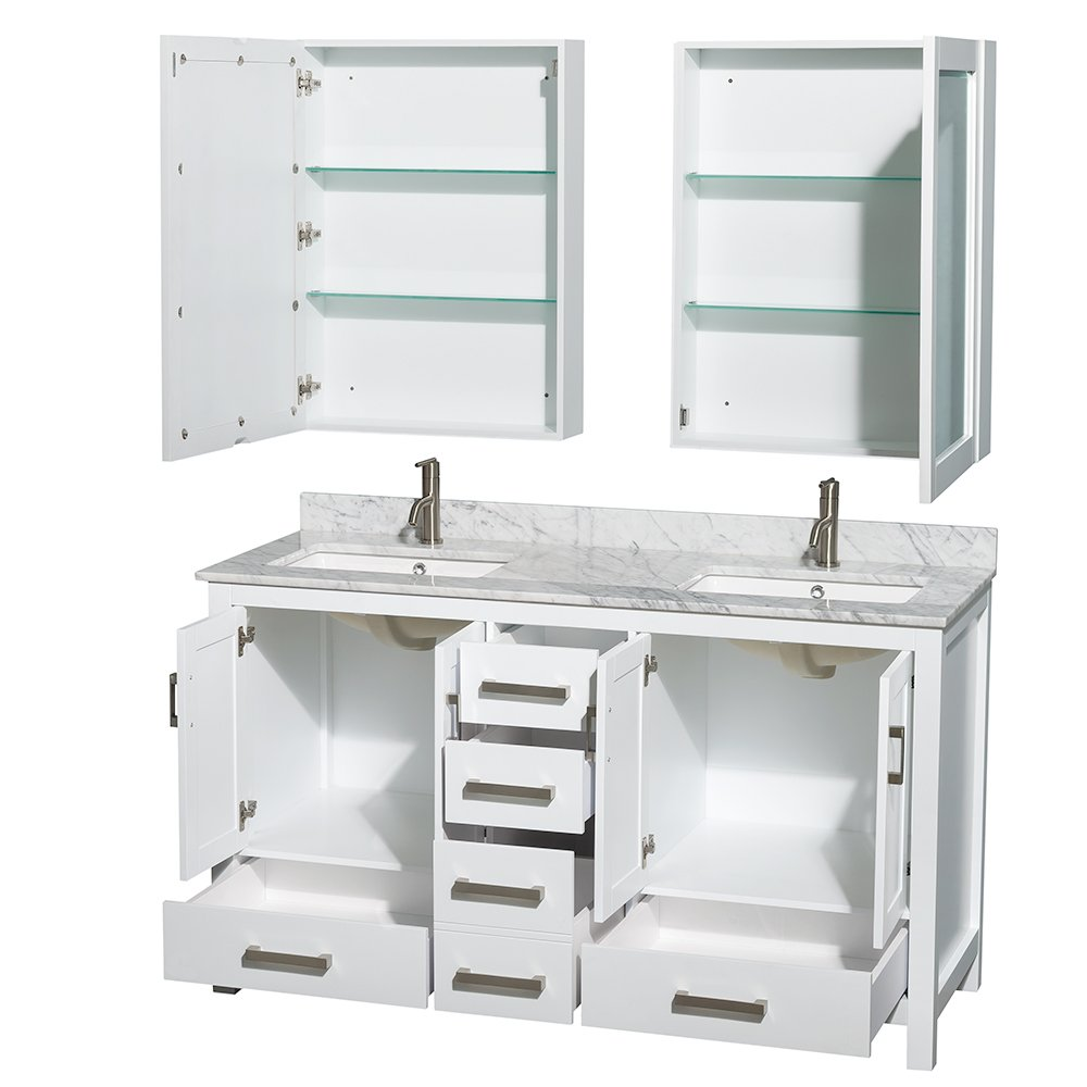 Wyndham bathroom vanities - Wyndham Collection Sheffield 60 Inch Double Bathroom Vanity In White White Carrera Marble Countertop Undermount Square Sinks And Medicine Cabinets