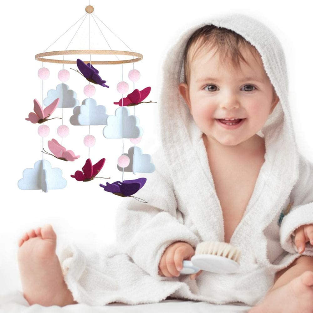 DIQC Baby Cot Crib Mobile Girl Boy Butterfly Animal Cot Mobile Felt Baby Nursery Mobile Travel Cot Mobile Baby Cot Toys Rattle Toy Bedside Bells for Babies Newborn Baby Wind Chimes Portable