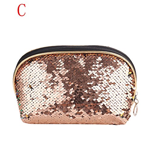 (Mermaid Sequin Portable Cosmetic Storage Professional Makeup Bag Coin Pouch (Rose Gold))