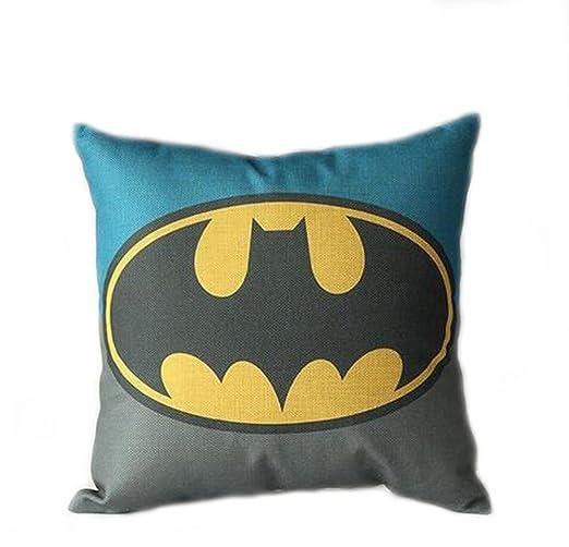Azul patrón de dibujos animados de Batman lino y algodón ...