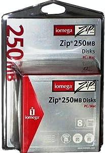 Iomega Zip Disk, PC/MAC Format, 250MB, 8/PK