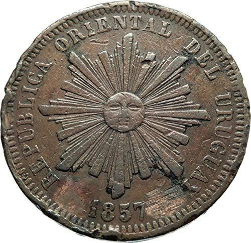 1857 unknown 1857 D URUGUAY Antique Vintage Genuine Sun & Wrea coin Good Uncertified