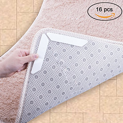 Lay Flat Sticky Pads - pertty Non-slip Mats Fixed Carpet Rug Carpet Mat Grippers Non Slip Skid Silicone Bath Living Room Anti-skid Pads 16pcs