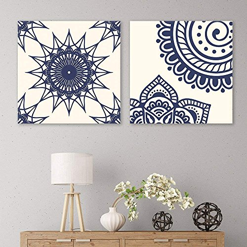 2 Panel Square Deep Blue Floral Pattern Patterns x 2 Panels