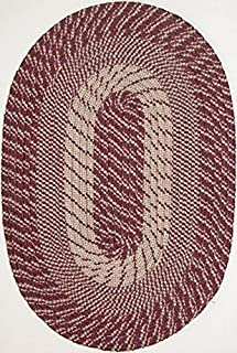"product image for Plymouth 5' 6"" x 8' 6"" (66"" x 102"") Oval Braided Rug in Wine Made in USA"