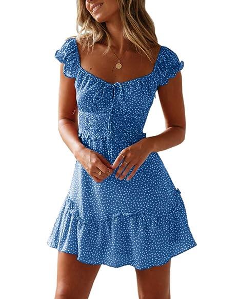 d1e83dfc9f Yobecho Womens Summer Ruffle Sleeve Sweetheart Neckline Printing Dress Mini  Dress Blue