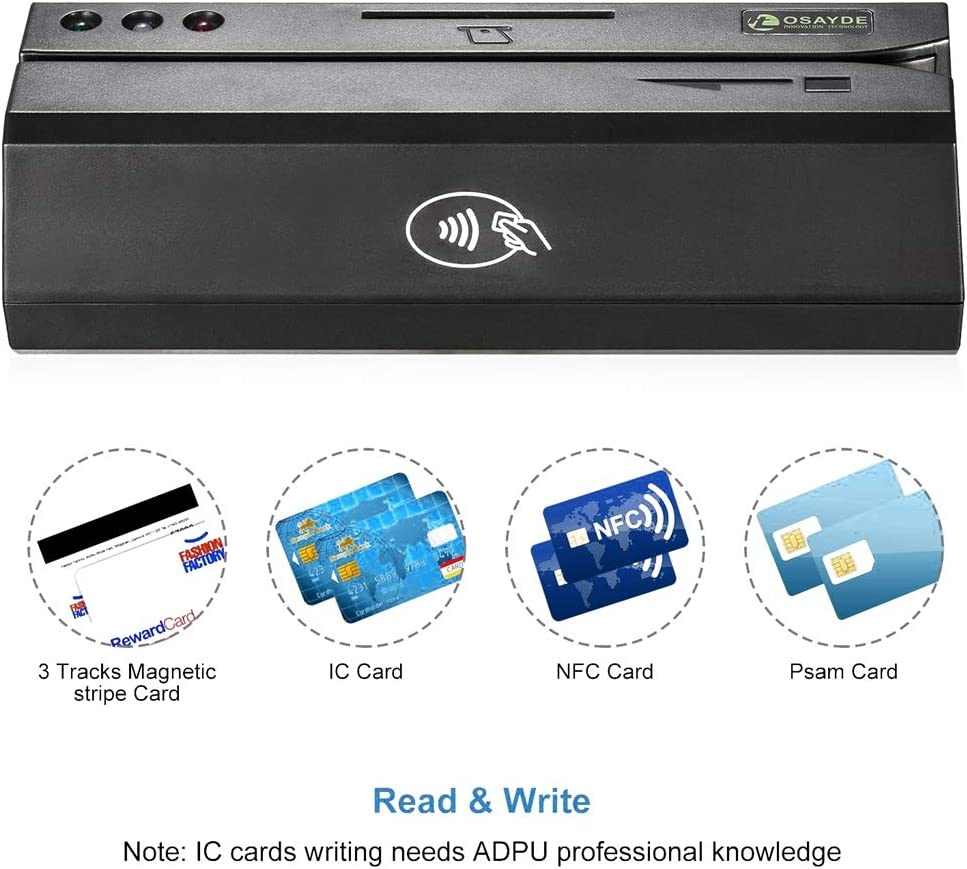 OSAYDE USB Magnetic Credit Card Reader with 20 PCS Blank Cards HTT Co New 880 for Magstripe,IC,NFC and Psam Cards Reader and Writer Ltd OSAYDE880
