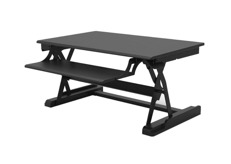 Offex Height Adjustable Level Up Premier Standing Desktop Converter, Computer Workstation Fits Dual Monitor - Black