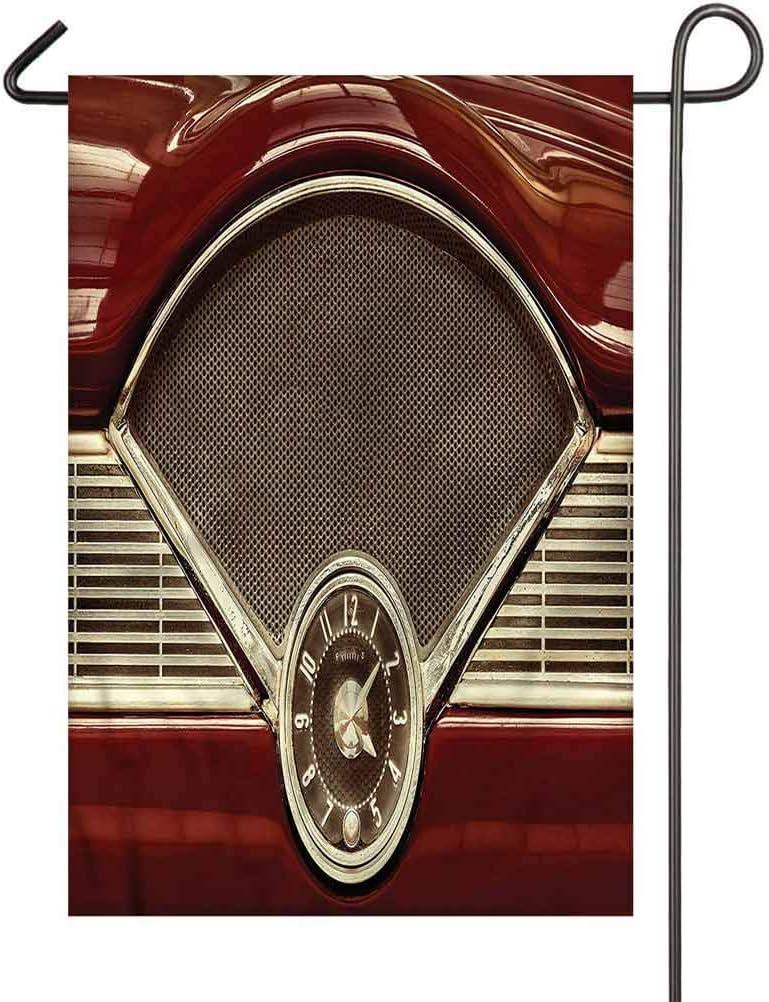 PRUNUS 1950s Garden Flag,Classic Car Dashboard Clock Vertical Double-Sided Premium Garden Banners, Outdoor Decoration 28 x 40 Inch