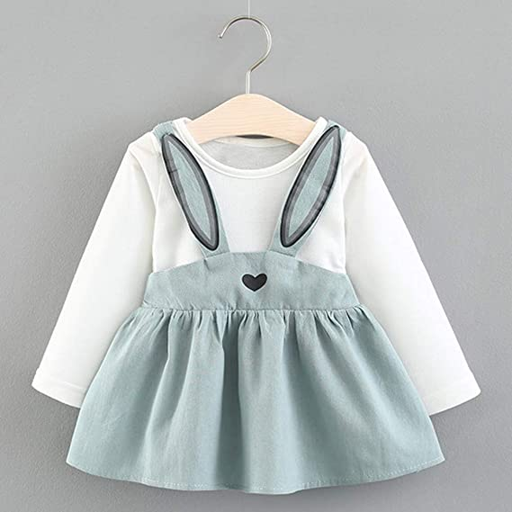KONFA Toddler Baby Girls Lace Plaid Dress 1-5 Years,Little Princess Long Sleeve Skirt Clothing Set