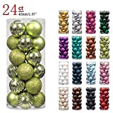 "KI Store 24ct Christmas Ball Ornaments Shatterproof Christmas Decorations Tree Balls Pastel SMALL for Holiday Wedding Party Decoration, Tree Ornaments Hooks included 1.57"" (40mm Lime Green)"