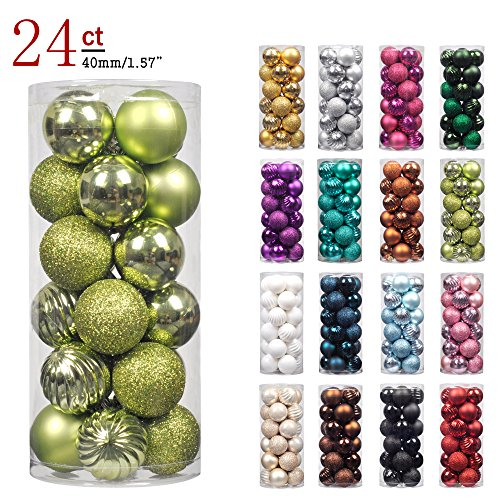 "KI Store 24ct Christmas Ball Ornaments Shatterproof Christmas Decorations Tree Balls Pastel SMALL for Holiday Wedding Party Decoration, Tree Ornaments Hooks included 1.57"" (40mm Lime - Plastic Ornament Christmas"