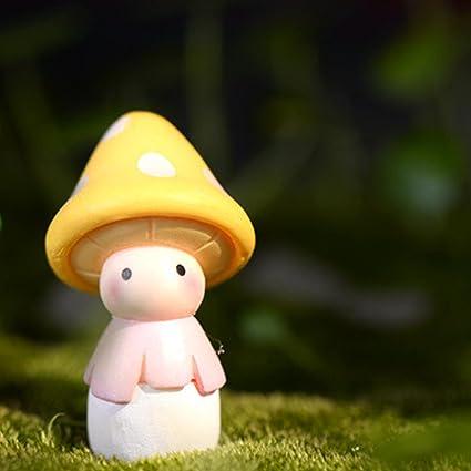 Ornamento da giardino fata di figurine di terrario di funghi in miniatura di