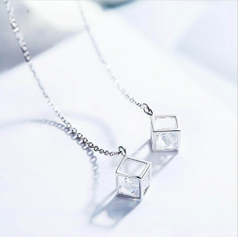 Women Ladies 925 Sterling Silver Earrings Square Cube Stud Earrings Silver Gnzoe