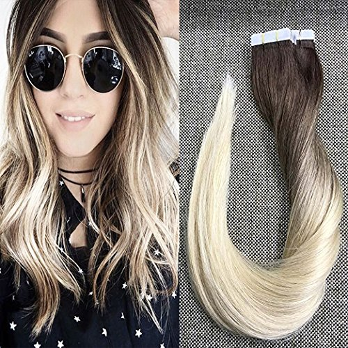"Full Shine 20"" 20 Pcs 50 Gram Per Package Balayage Hair Color#4 and #3 Fading to Blonde Ombre Balayage Hair Extensions Two Tone Ombre Hair Extensions Human Hair Tape In Extensions"