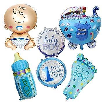 6 Unids globos XL baby 1 cumpleaños azul ideales para la fiesta de nuevo bebes decoracion