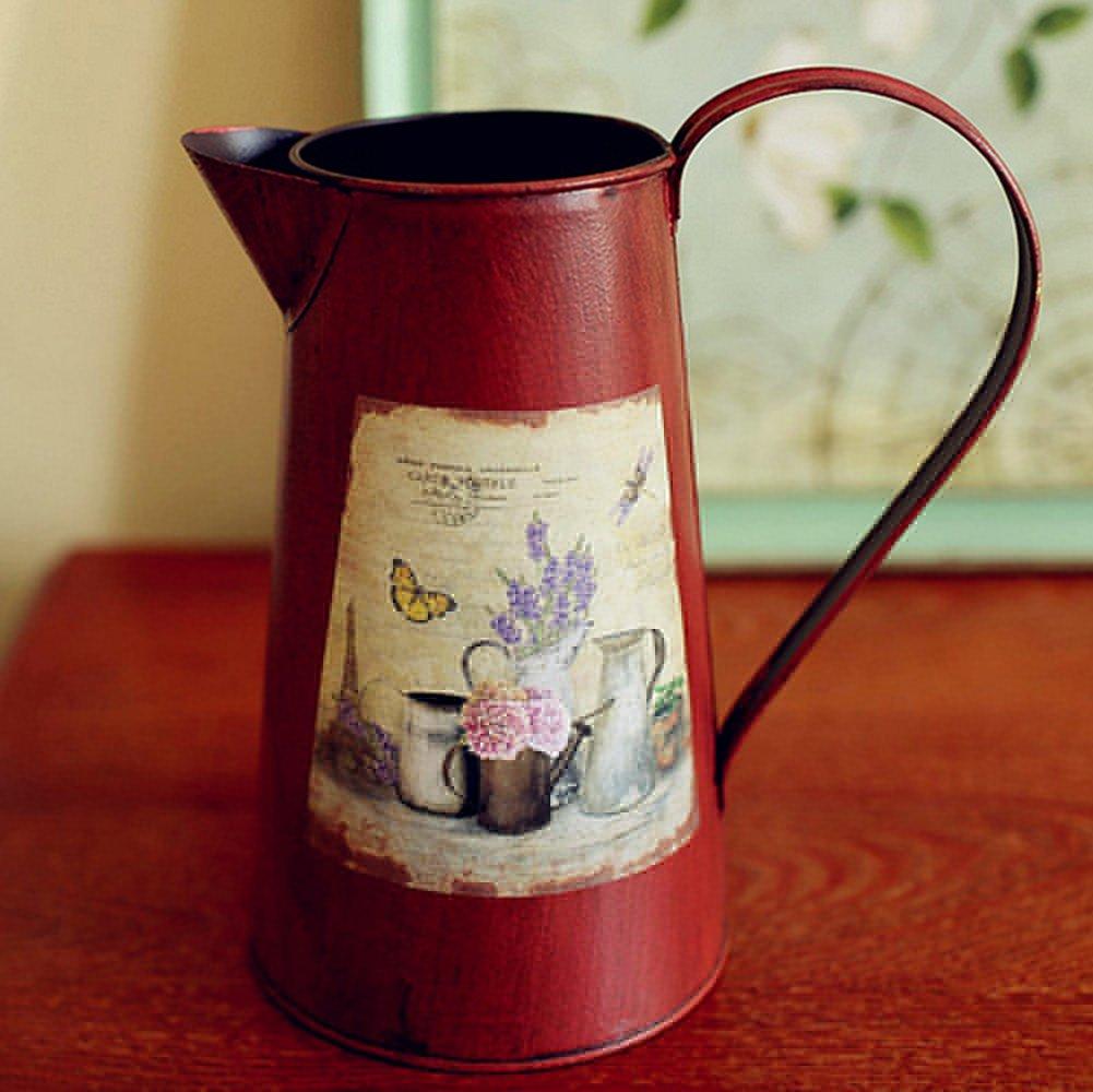VANCORE(TM) Nostalgia Style Shabby Chic Pitcher Metal Vase