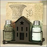 Colonial Tin Works Saltbox House Salt Pepper and Napkin Caddy