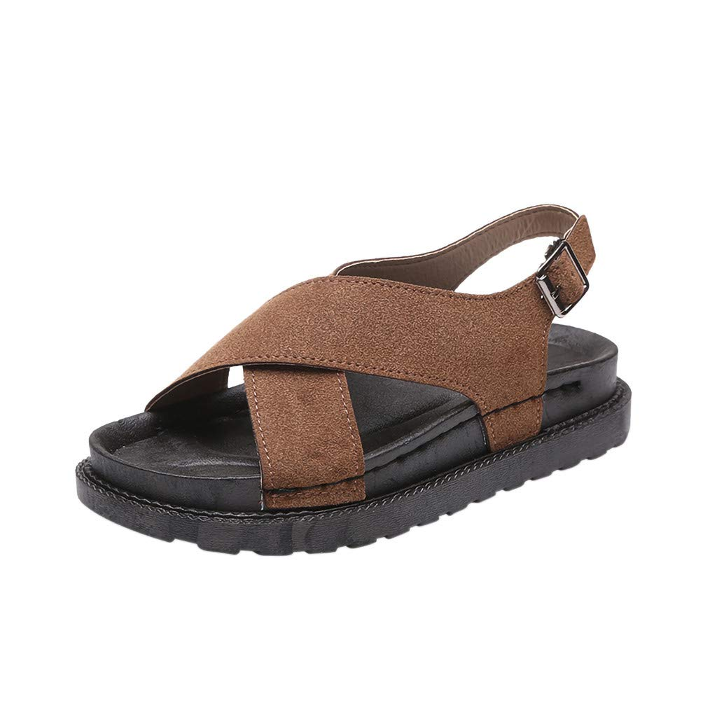 Sherostore ♡ Women Platform Wedge Sandals Comfort Open Toe Buckle Strap Summer Casual Slip-On Flat Roman Shoes Brown by Sherostore