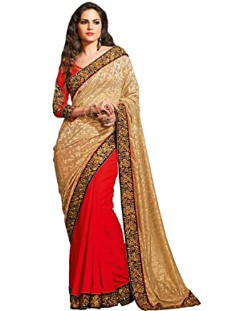 5f96715d8f6d2a Vipil Heavy Embroidered Full Sleeve blouse with Half   Half netted pallu    butta work Saree on Georgette fabric  Amazon.in  Clothing   Accessories