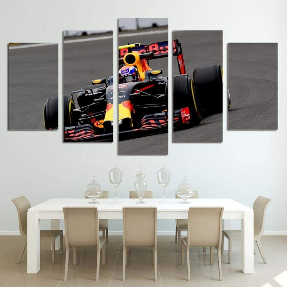 5 Canvas Wall Art Paintings Cool F1 Racing Boy Room 150X80Cm Modular High-Definition Printing 5Panel Landscape Poster Home Decoration Canvas Painting Living Room Wall Picture (ELL927)