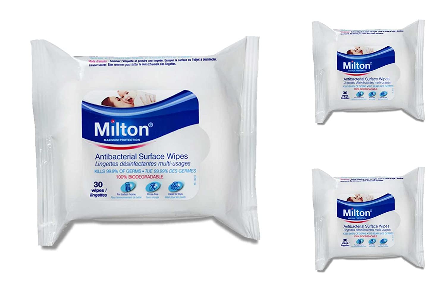 Milton Baby Antibacterial Surface Wipes 3 x 30Pk 90 Wipes