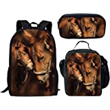Middle School Backpack Set Lunch Bag Pen Bags for Girls Fashion Book Bag Horse Print