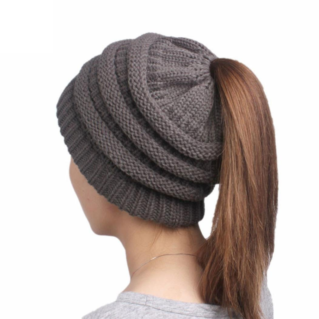 Beanie, KEERADS Women Beanie Tail Soft Stretch Cable Knit Messy High Bun Ponytail Hat KD-1114