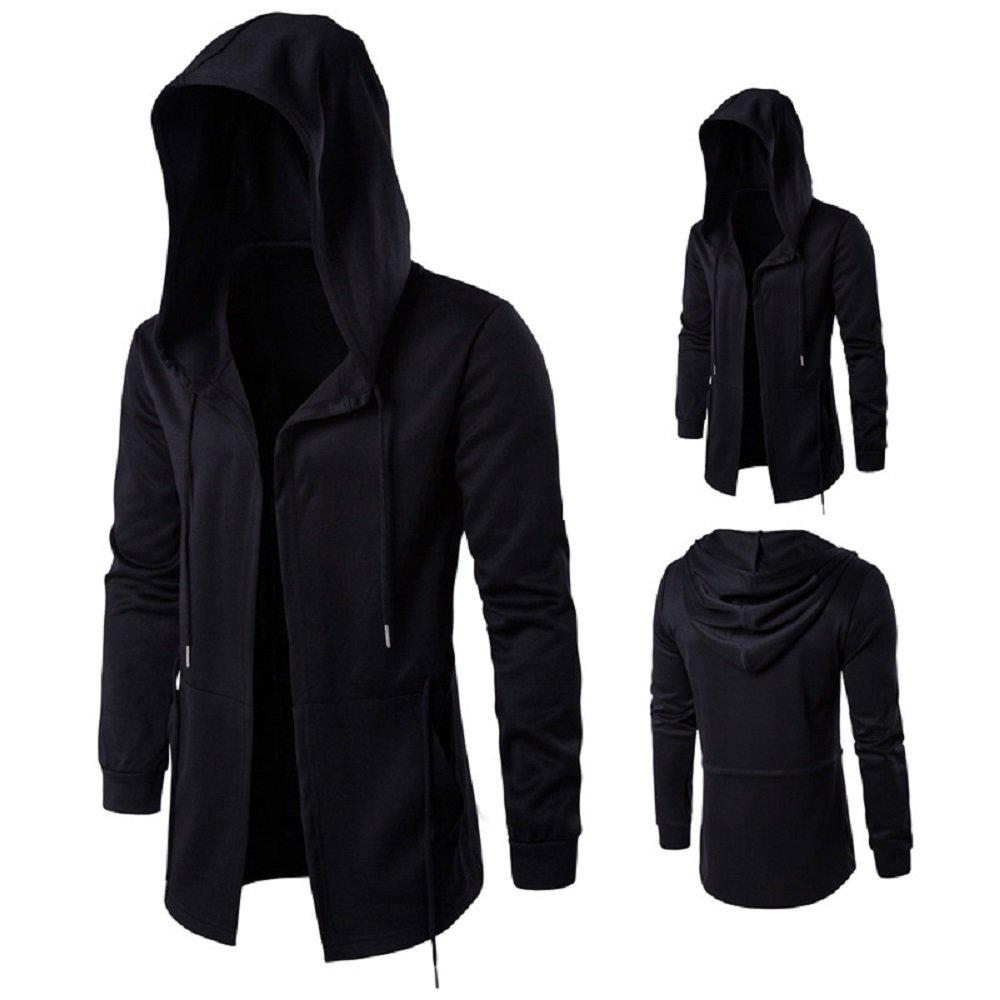 YAVOCOS Men's Windbreaker Hoodie Long Wizard Jacket Windproof Lightweight Sweatshirt