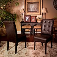 Addison Tufted Brown Leather Dining Chair (Set of 2)