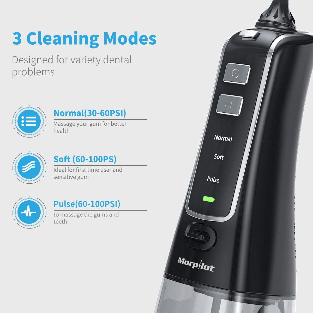 Cordless Water Flosser Portable Professional Dental Oral Irrigator 300ml Reservoir IPX7 Waterproof FDA With 5 Jet Tips for Home and Travel