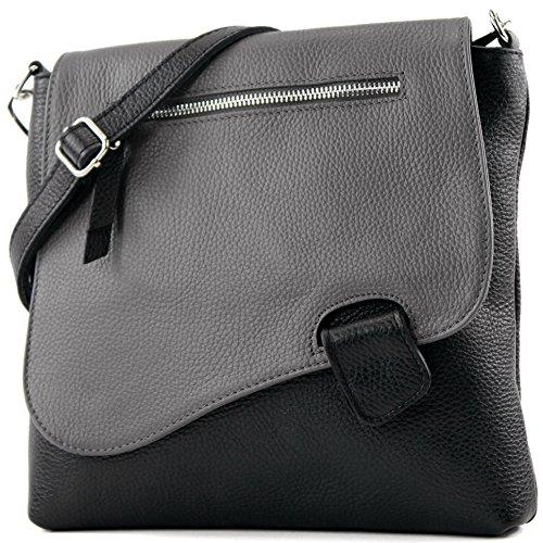 modamoda de - ital de cuero bolso de las señoras bolsa de mensajero del bolso de hombro del bolso de cuero NT07 2en1, Präzise Farbe (nur Farbe):Schwarz/Dunkelgrau