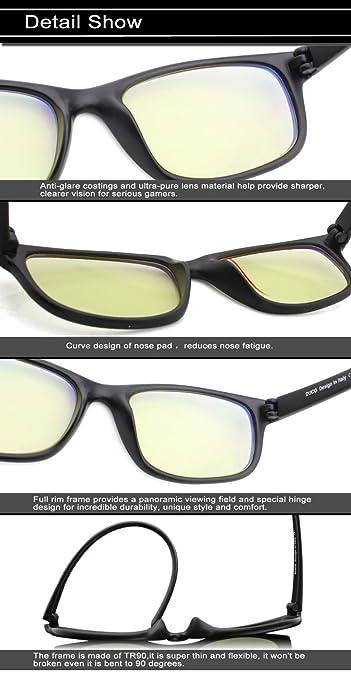 1ca4614597 Duco Full Rim Ergonomic Advanced Computer Gaming Glasses with Amber Lens  Tint 8016 Matte Black: Amazon.com.mx: Electrónicos