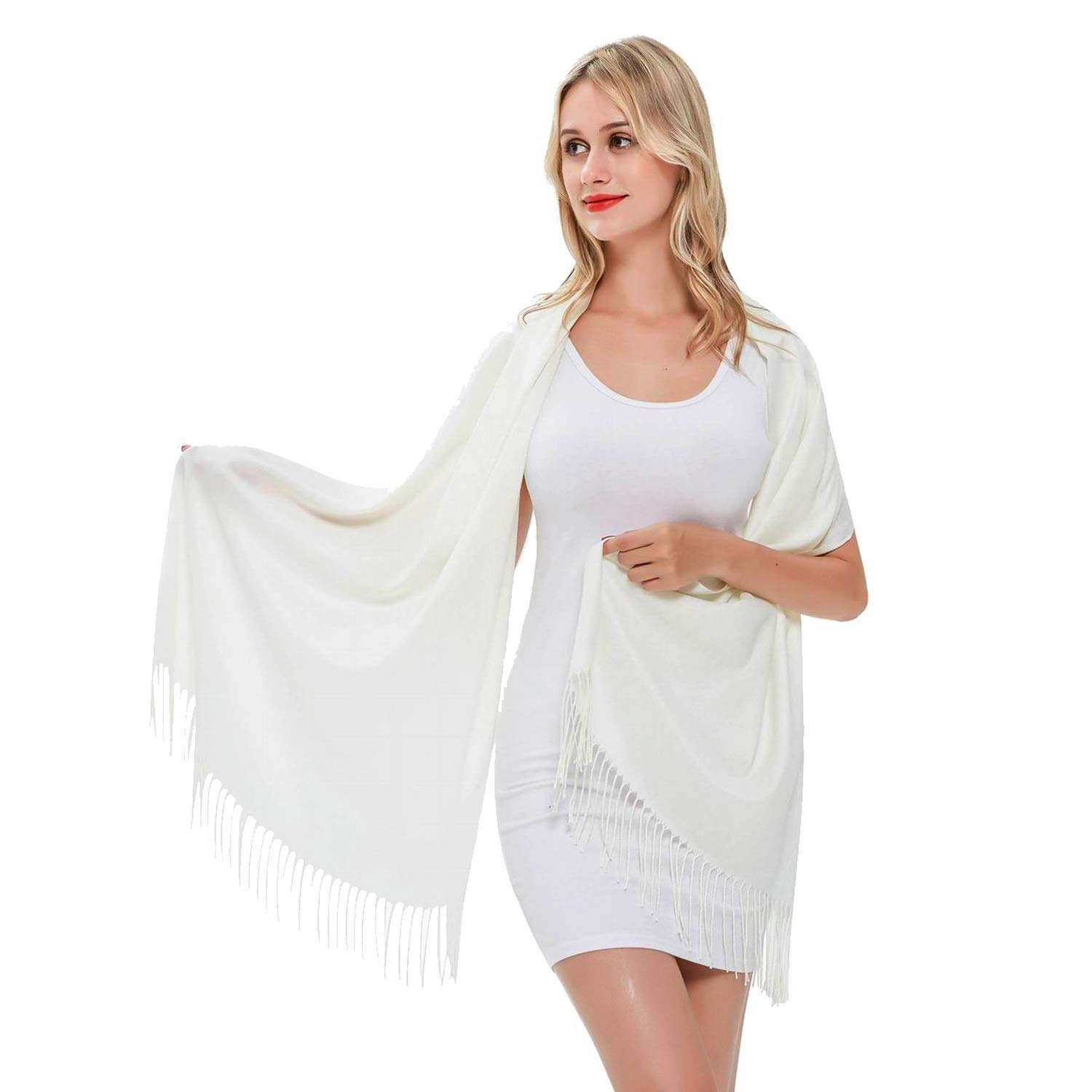 Pashmina Scarf for Women, Vimate Cashmere Feel Plain Colors Pashmina Shawls and Wraps (Off White (B style))