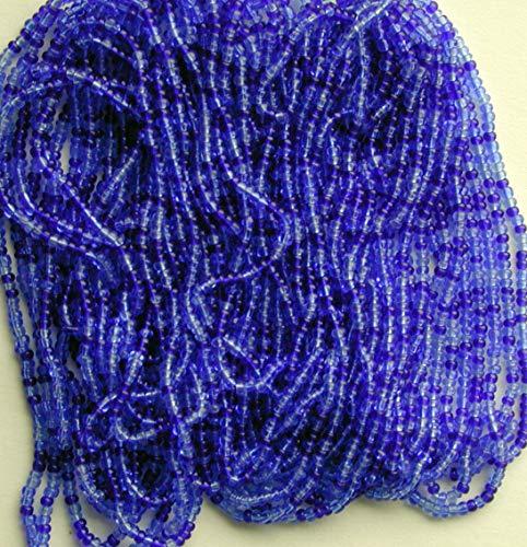 Lt and Dk Blue Seed Beads Vintage Color Lined Glass Long Str