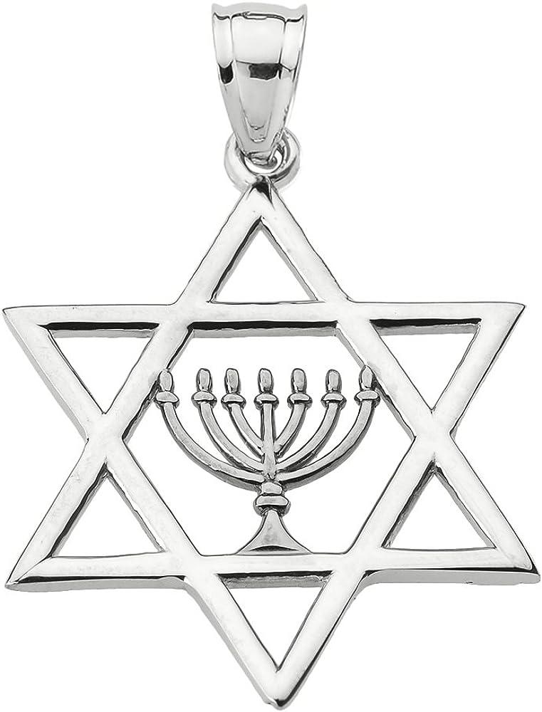 Silver Magen David Menora Necklace Star of David Necklace Star of David with Menora Jewish Star Jewelry Hanukkah Gift. Menora Pendant