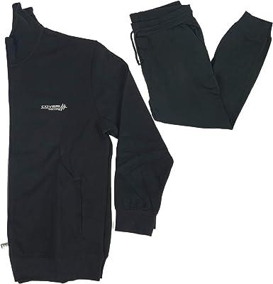 Coveri - Chándal completo para hombre, de algodón ligero, de verano, tallas grandes, con cremallera: Amazon.es: Ropa y accesorios