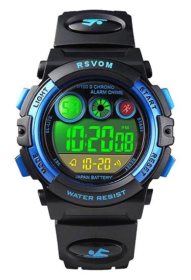 Relojes de Pulsera para niños, Reloj Digital a Prueba para niños a 50 m con 12/24H /Alarma/Luz de Colores EL, Relojes electrónicos para niños de Color ...