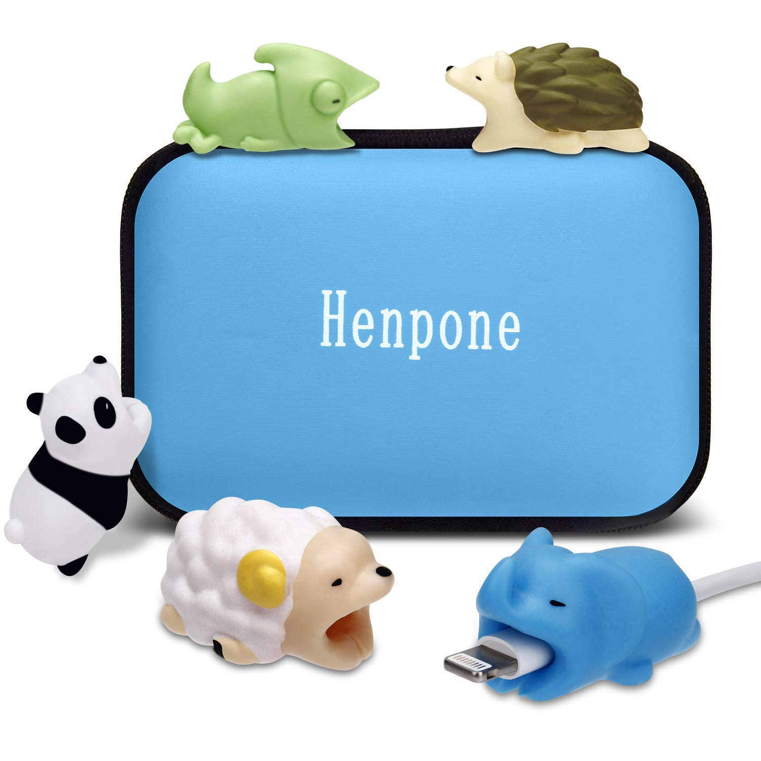 Henpone 5PCS Cute Animal Cable Bites (Panda + Chameleon + Hedgehog +Sheep + Elephant) Compatible for iPhone Cable Bite Cord Data Line Protector Cell Phone Accessories