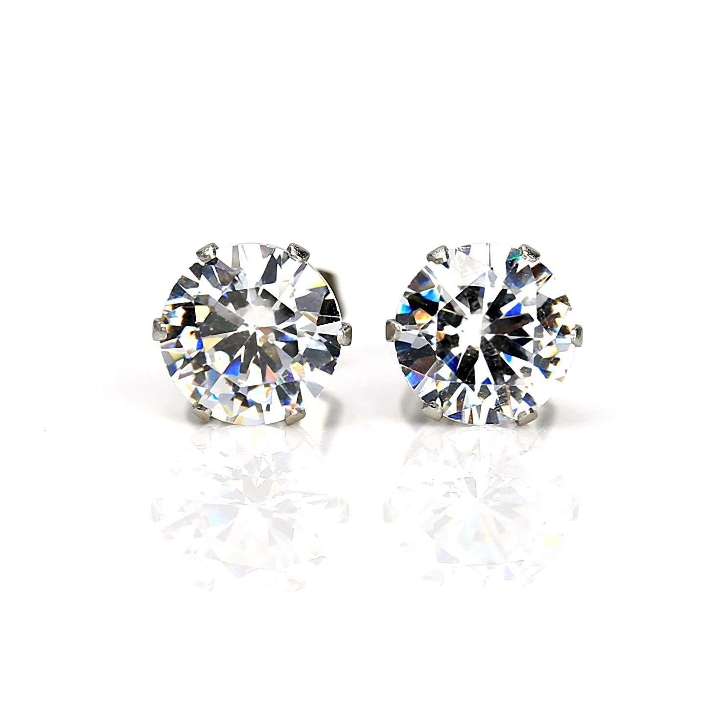 Striking Silver Tone Swarovski Style Stud Earrings, Approx. 2 Ct Total Weight (Comparable to Diamond Weight)
