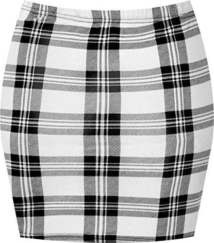 WearAll - Imprim extensible elastiqu jersey court mini-jupe moulant - Jupes - Femmes - Tailles 36 42 Blanc Tartan