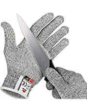 NoCry Cut Resistant Gloves with Grip Dots - High Performance Level 5 Protection, Food Grade, Free Ebook Included