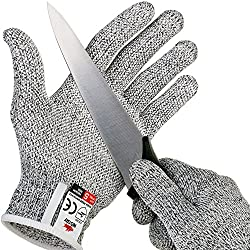 NoCry Cut Resistant Gloves with Grip Dots - High Performance Level 5 Protection, Food Grade. Size Medium, Free Ebook Included!